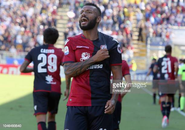 Joao Pedro of Cagliari celebrates his goal 10 during the Serie A match between Cagliari and Bologna FC at Sardegna Arena on October 6 2018 in...