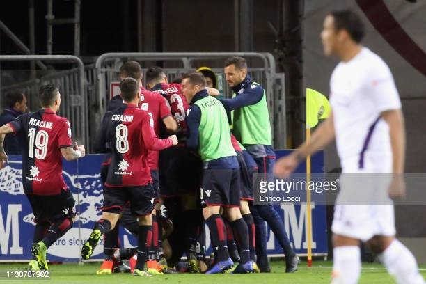 Joao Pedro of Cagliari celebrates his goal 10 during the Serie A match between Cagliari and ACF Fiorentina at Sardegna Arena on March 15 2019 in...