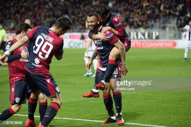 Joao Pedro of Cagliari celebrates his goal 10 during the Serie A match between Cagliari Calcio and Parma Calcio at Sardegna Arena on February 1 2020...
