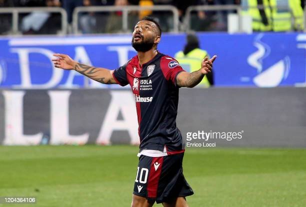 Joao Pedro of Cagliari celebrates his goal 10 during the Serie A match between Cagliari Calcio and AS Roma at Sardegna Arena on March 1 2020 in...