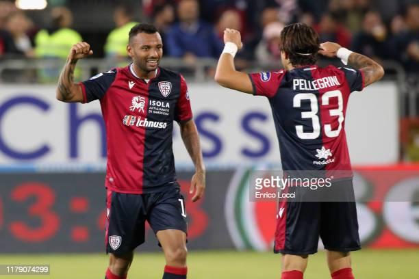 Joao Pedro of Cagliari celebrates his goal 11 during the Serie A match between Cagliari Calcio and Bologna FC at Sardegna Arena on October 30 2019 in...
