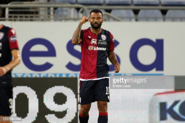 Joao Pedro of Cagliari celebrates his goal 11 during the Serie A match between Cagliari Calcio and US Sassuolo at Sardegna Arena on July 18 2020 in...
