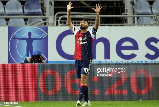 Joao Pedro of Cagliari celebrates his goal 1-1 during the Serie A match between Cagliari Calcio and Spezia Calcio at Sardegna Arena on November 29,...