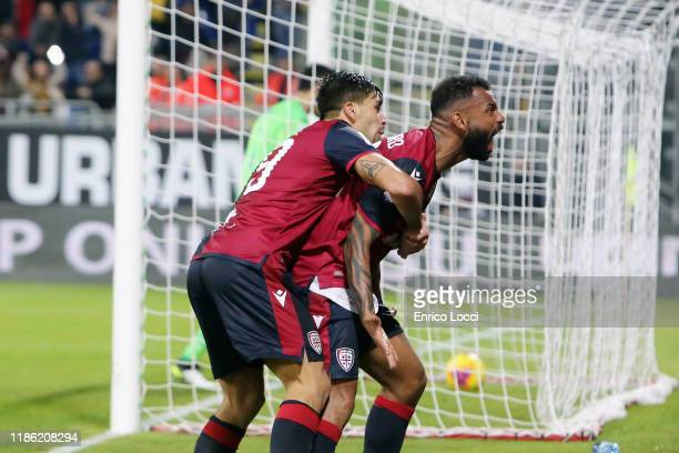 Joao Pedro of Cagliari celebrates his goal 33 during the Serie A match between Cagliari Calcio and UC Sampdoria at Sardegna Arena on December 2 2019...