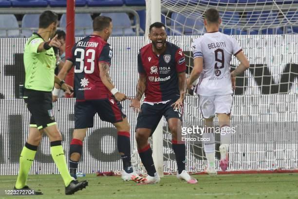 Joao Pedro of Cagliari celebrates his goal 42 during the Serie A match between Cagliari Calcio and Torino FC at Sardegna Arena on June 27 2020 in...