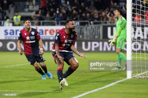Joao Pedro of Cagliari celebrates his goal to 3-3 during the Serie A match between Cagliari Calcio and UC Sampdoria at Sardegna Arena on December 2,...