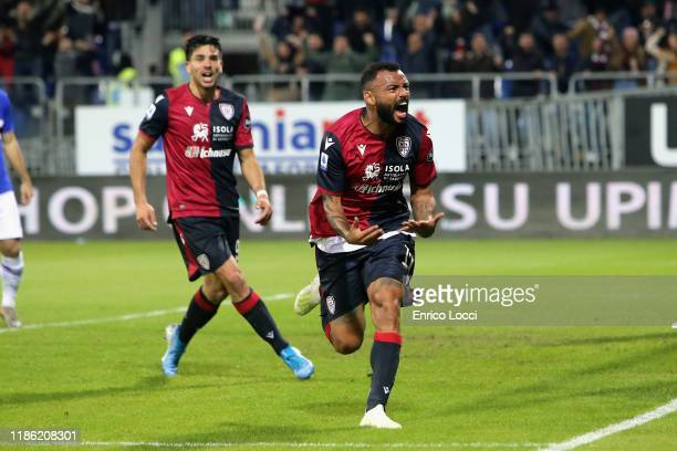 Joao Pedro of Cagliari celebrates his goal to 33 during the Serie A match between Cagliari Calcio and UC Sampdoria at Sardegna Arena on December 2...