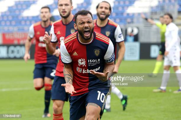 Joao Pedro of Cagliari celebrates scoring a goal during the Serie A match between Cagliari Calcio and Benevento Calcio at Sardegna Arena on January...