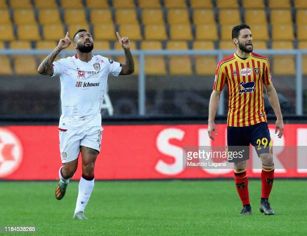 Joao Pedro of Cagliari celebrates the opening goal during the Serie A match between US Lecce and Cagliari Calcio at Stadio Via del Mare on November...