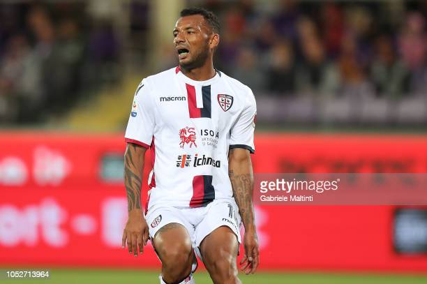 Joao Pedro of Cagliari in action during the Serie A match between ACF Fiorentina and Cagliari at Stadio Artemio Franchi on October 21 2018 in...
