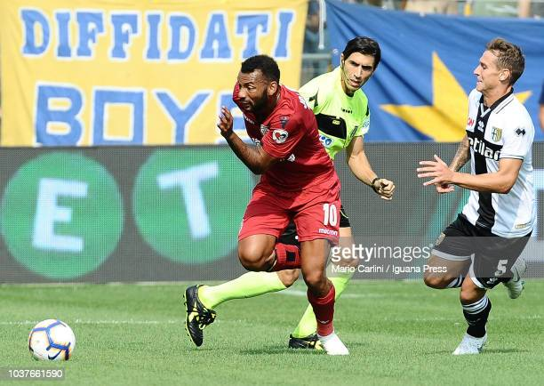 Joao Pedro of Cagliari in action during the serie A match between Parma Calcio and Cagliari at Stadio Ennio Tardini on September 22 2018 in Parma...