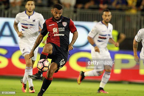 Joao Pedro of Cagliari in action during the Serie A match between Cagliari Calcio and UC Sampdoria at Stadio Sant'Elia on September 26 2016 in...
