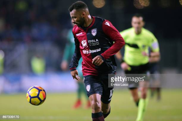 Joao Pedro of Cagliari in action during the serie A match between Cagliari Calcio and ACF Fiorentina at Stadio Sant'Elia on December 22 2017 in...