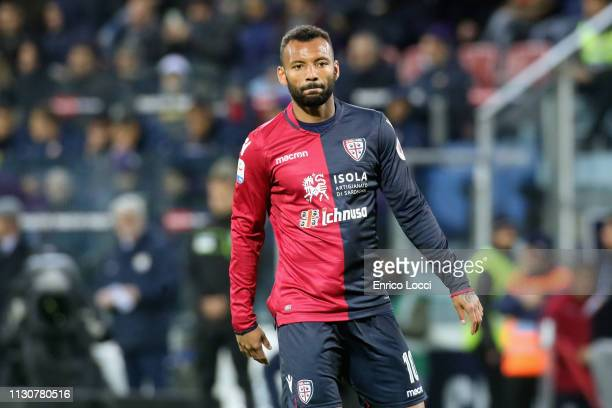 Joao Pedro of Cagliari looks on during the Serie A match between Cagliari and ACF Fiorentina at Sardegna Arena on March 15 2019 in Cagliari Italy