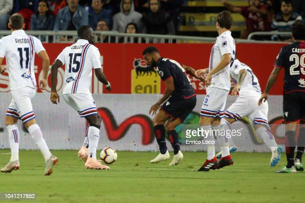 Joao Pedro of Cagliari scores a goal for offside during the serie A match between Cagliari and UC Sampdoria at Sardegna Arena on September 26 2018 in...