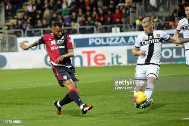 Joao Pedro of Cagliari scores his goal 10 during the Serie A match between Cagliari Calcio and Parma Calcio at Sardegna Arena on February 1 2020 in...