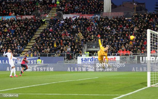 Joao Pedro of Cagliari scores his goal 1-0 during the Serie A match between Cagliari Calcio and AS Roma at Sardegna Arena on March 1, 2020 in...