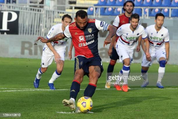 Joao Pedro of Cagliari scores his goal 1-0 during the Serie A match between Cagliari Calcio and UC Sampdoria at Sardegna Arena on November 07, 2020...