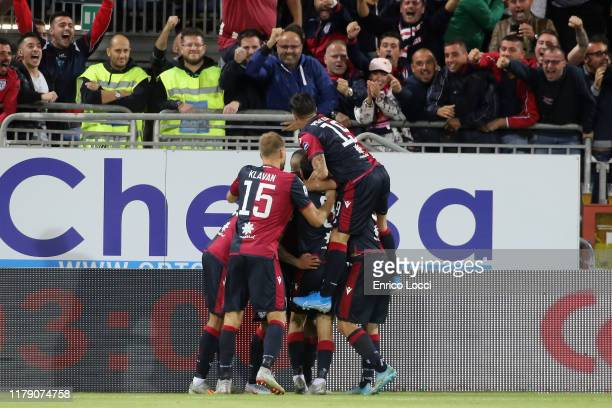 Joao Pedro of Cagliri celebrates his goal 11 with the team mates during the Serie A match between Cagliari Calcio and Bologna FC at Sardegna Arena on...