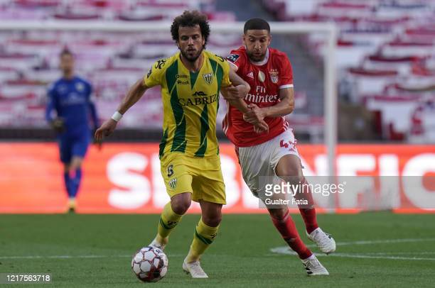 Joao Pedro of CD Tondela and Adel Taarabt of SL Benfica compete for the ball during the Liga NOS match between SL Benfica and CD Tondela at Estadio...
