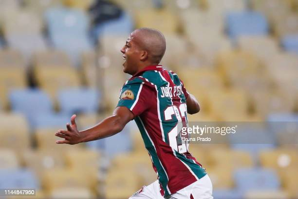 Joao Pedro of Fluminense celebrates a scored goal during a match between Fluminense and Cruzeiro as part of Brasileirao Series A 2019 at Maracana...