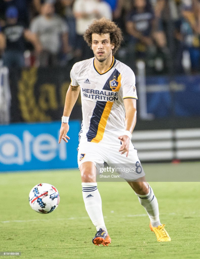 Joao Pedro #8 of Los Angeles Galaxy during the Los Angeles Galaxy's MLS match against Vancouver Whitecaps at the StubHub Center on July 19, 2017 in Carson, California. Vancouver won the match 1-0