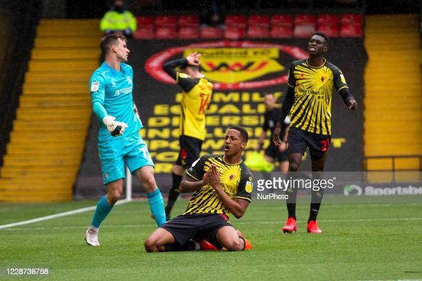 Joao Pedro of Watford after his missed goal opportunity during the Sky Bet Championship match between Watford and Luton Town at Vicarage Road Watford...