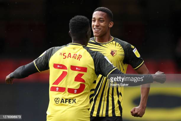 Joao Pedro of Watford celebrates after scoring his team's first goal with Ismaila Sarr of Watford during the Sky Bet Championship match between...
