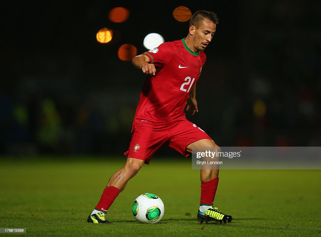 Joao Periera of Portugal in action during the FIFA 2014 World Cup Qualifying Group F match between Northern Ireland and Portugal at Windsor Park on September 6, 2013 in Belfast, Northern Ireland.