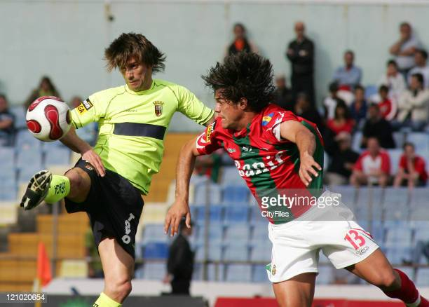 Joao Pinto and Olberdam during the Portuguese Bwin League match between Maritimo and SC Braga at Funchal Portugal on April 1 2007