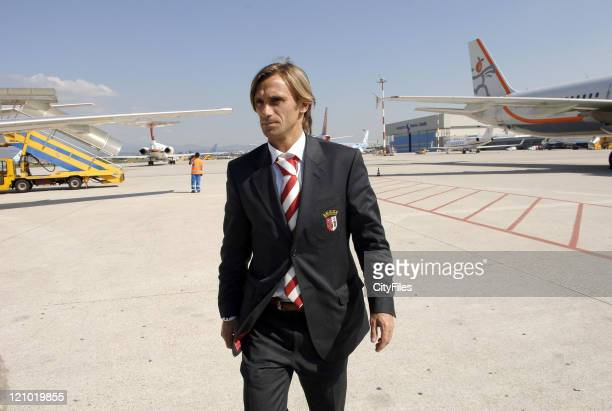 Joao Pinto during UEFA Cup - Braga arrive for game against Chievo at Verona in Verona, Italy.