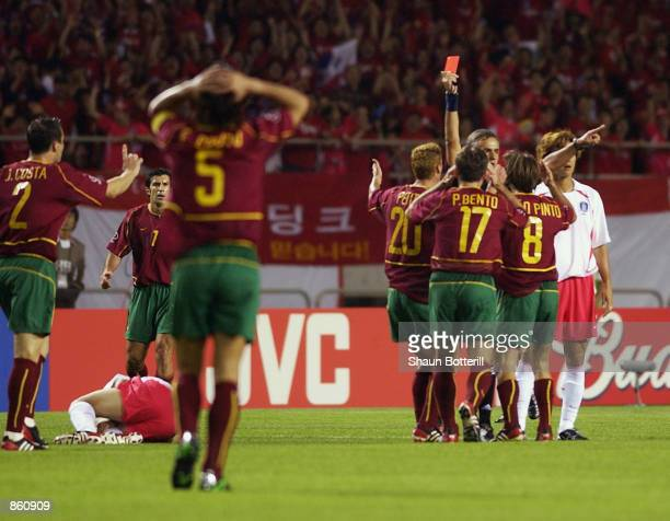 Joao Pinto of Portugal is sent off during the FIFA World Cup Finals 2002 Group D match between Portugal and South Korea played at the Incheon Munhak...