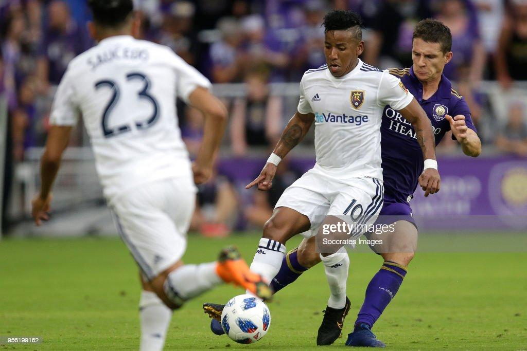 Joao Plata of Real Salt Lake ,Will Johnson of Orlando City during the match between Orlando City v Real Salt Lake on May 6, 2018