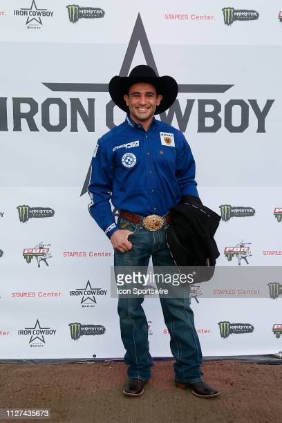 Joao Ricardo Vieira poses on the red carpet called the dirt carpet prior to the Iron Cowboy during the Professional Bull Riders Iron Cowboy presented...