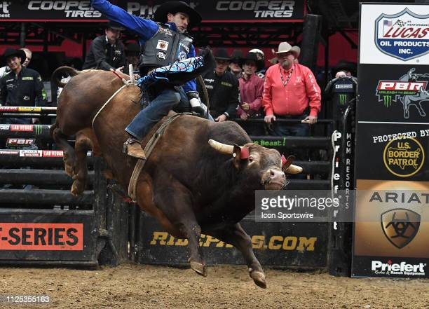 Joao Ricardo Viera rides the bull Mind Freak during the final round of the Professional Bullriders Mason Lowe Memorial on February 16 at Enterprise...