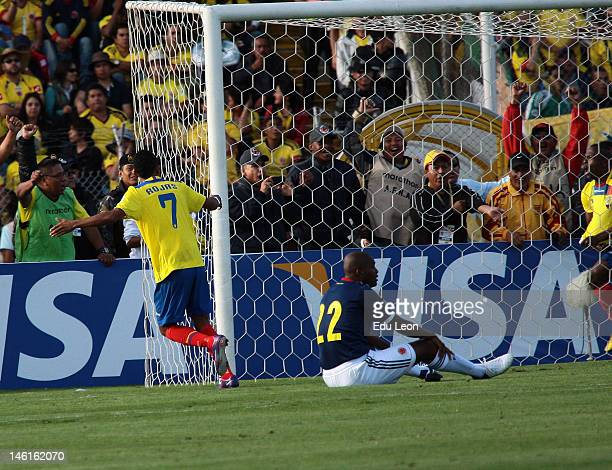 Joao Rojas celebrates after scoring aginst Colombia during the match between Ecuador and Colombia at Atahualpa stadium during the sixth round of the...