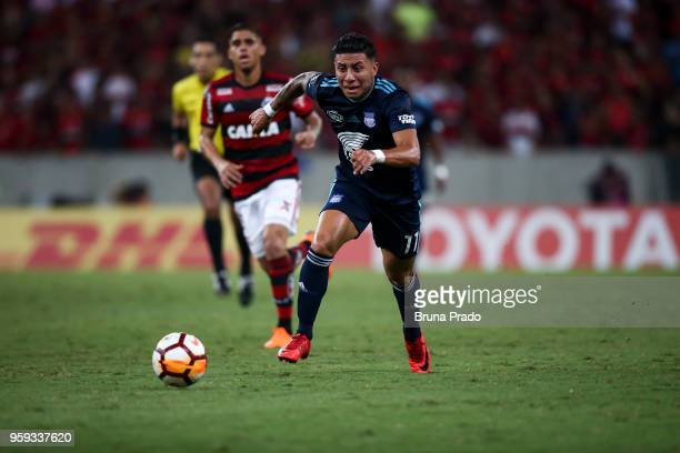 JoaÌo Rojas of Emelec runs for the ball during a Group Stage match between Flamengo and Emelec as part of Copa CONMEBOL Libertadores 2018 at Maracana...