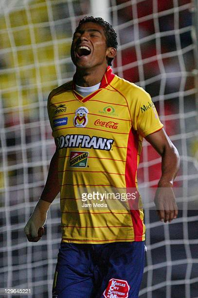 Joao Rojas of Morelia celebrat a scored goal as part of the Concacaf Champions League 20112012 at Morelos Stadium on October 18 2011 in Morelia Mexico