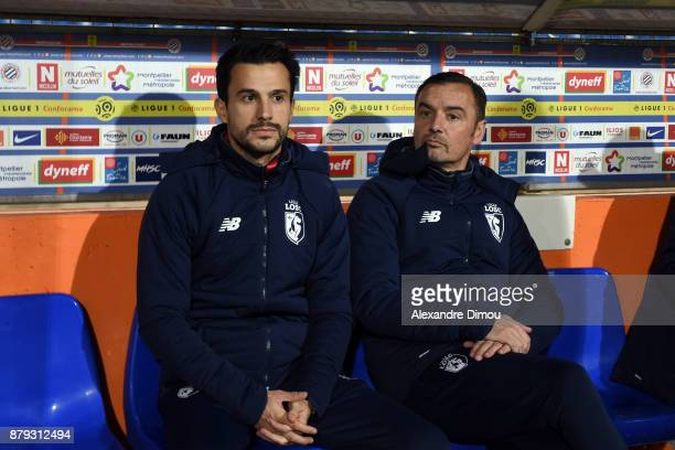 Joao Sacramento and Fernando Da Cruz Coachs of Lille during the Ligue 1 match between Montpellier Herault SC and Lille OSC at Stade de la Mosson on...