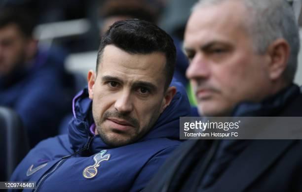 Joao Sacramento, Assistant Head Coach of Tottenham Hotspur and Jose Mourinho, Head Coach of Tottenham Hotspur during the Premier League match between...