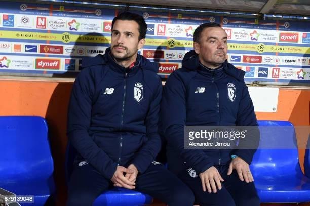Joao Sacramento Coach and Fernando Da Cruz Coach of Lille during the Ligue 1 match between Montpellier Herault SC and Lille OSC at Stade de la Mosson...
