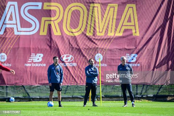 Joao Sacramento, Giovanni Cerra and Josè Mourinho during a training session at Centro Sportivo Fulvio Bernardini on October 15, 2021 in Rome, Italy.