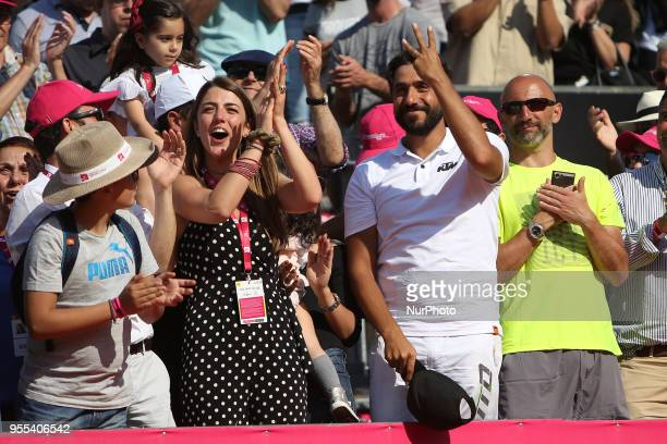 Joao Sousa Coach Frederico Marques and Joao Sousa Girlfriend celebrate his victory in the Millennium Estoril Open ATP 250 tennis tournament final...