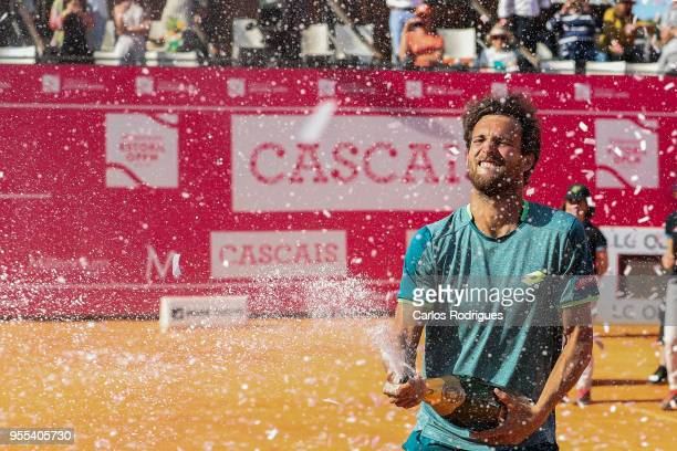 Joao Sousa from Portugal celebrates wining the match against Frances Tiafoe from United States of America for Millennium Estoril Open 2018 Singles...
