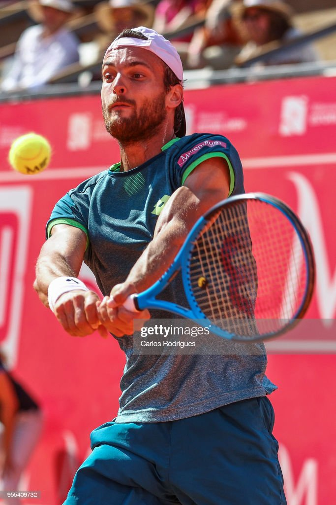Joao Sousa from Portugal in action during the matchagainst Frances Tiafoe from United States of America for Millennium Estoril Open 2018 - Singles Final at Clube de Tenis do Estoril on May 06, 2018 in Estoril, Portugal.