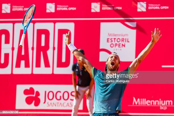 Joao Sousa from Portugal reacts wining the match between Joao Sousa from Portugal and Frances Tiafoe from United States of America for Millennium...