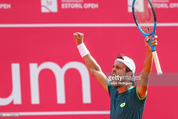 Joao Sousa from Portugal reacts wining the match between Pedro Sousa from Portugal and Joao Sousa from Portugal for Millennium Estoril Open 2018 at...