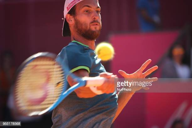 Joao Sousa in action during the Millennium Estoril Open tennis tournament in Estoril outskirts of Lisbon Portugal on May 5 2018
