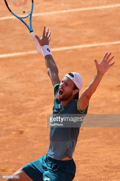 Joao Sousa of Portugal celebrates after winning the Millennium Estoril Open ATP 250 tennis tournament final against Frances Tiafoe of US at the Clube...