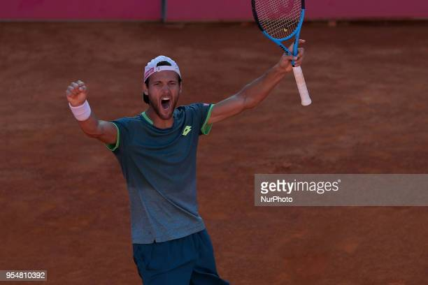 Joao Sousa of Portugal celebrates his victory over Kyle Edmund of Great Britain during the Millennium Estoril Open ATP 250 tennis tournament...